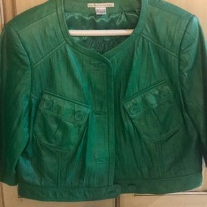 Leather crop jacket emerald green.
